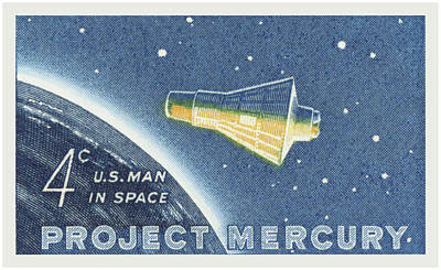 Royalty-Free and Rights-Managed Images - 1962 Project Mercury Stamp by Greg Joens