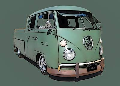 Queen Rights Managed Images - 1964 Volkswagen Crew Cab Royalty-Free Image by Scott Wallace Digital Designs
