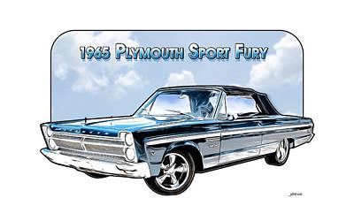 Digital Art - 1965 Plymouth sport fury 2 by Greg Joens
