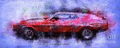 Drawings Royalty Free Images - 1973 MUSTANG FASTBACK Classic Car Royalty-Free Image by Drawspots Illustrations