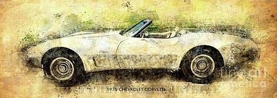 Drawings Royalty Free Images - 1975 Chevrolet Corvette Classic Car Royalty-Free Image by Drawspots Illustrations