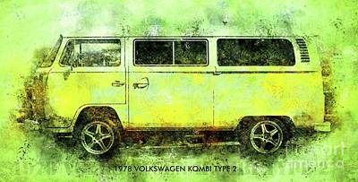 Royalty-Free and Rights-Managed Images - 1978 VOLKSWAGEN KOMBI TYPE 2 Classic Car Poster by Drawspots Illustrations