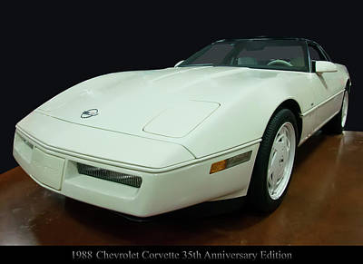 Vintage Uk Posters - 1988 Chevrolet Corvette 35th anniversary edition by Chris Flees
