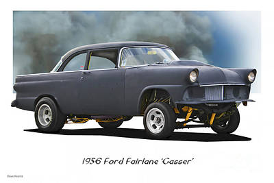 Farmhouse Royalty Free Images - 1956 Ford Fairlane Gasser Royalty-Free Image by Dave Koontz