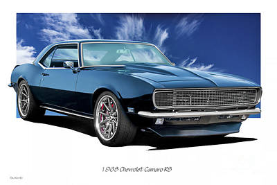 Sports Royalty-Free and Rights-Managed Images - 1968 Chevrolet Camaro RS by Dave Koontz