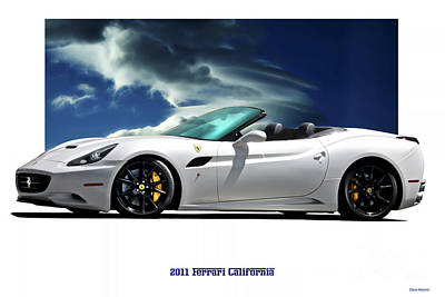 License Plate Skylines And Skyscrapers Rights Managed Images - 2011 Ferrari California Royalty-Free Image by Dave Koontz