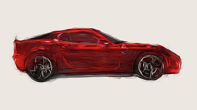 Monochrome Landscapes - Alfa Romeo 8C Competizione Car Drawing by CarsToon Concept