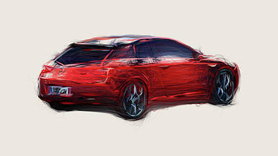 Sports Royalty-Free and Rights-Managed Images - Alfa Romeo Brera Car Drawing by CarsToon Concept