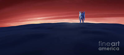Winter Animals - Astronaut doing space walk and explore a distant planet such as Mars. by Michal Bednarek