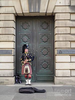Photograph - Bagpiper, Edinburgh by Jeff Whyte