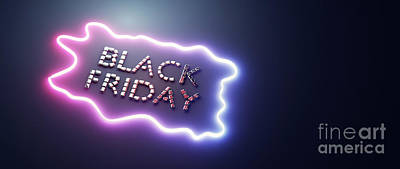 Winter Animals - Black friday neon sign made of glamour diamonds. by Michal Bednarek