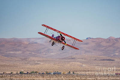 Amy Hamilton Watercolor Animals - Boeing-Stearman Model 75 demo in USAF Air show at Nellis Air For by Chon Kit Leong