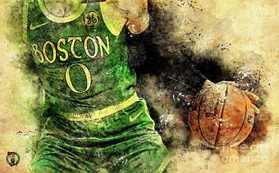 Royalty-Free and Rights-Managed Images - Boston Celtics Basketball Player,Sports Posters by Drawspots Illustrations
