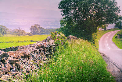 Royalty-Free and Rights-Managed Images - curved road in middle of rural Engalnd with dry stone walls and trees by David Ridley