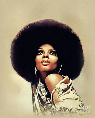 Music Paintings - Diana Ross, Music Legend by John Springfield