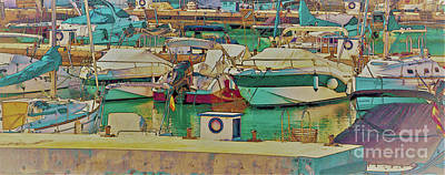 Western Art - Illustration of a small port with yachts and ships in sunny Spai by Qsevenseven Photo