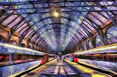 Comic Character Paintings - Kings Cross Rail Station van gogh by David Pyatt