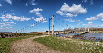 American Milestones - Kong Hans suspension  bridge in Skjern meadows Ringkoebing, Denm by Frank Bach