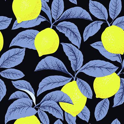 Royalty-Free and Rights-Managed Images - Lemon citrus pattern. Botanical illustration. Summer background. Floral design.  by Julien