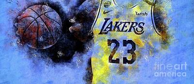Royalty-Free and Rights-Managed Images - Los Angeles Lakers 23 Basketball Team, NBA Players,Sport Prints by Drawspots Illustrations