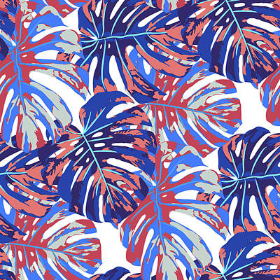 Royalty-Free and Rights-Managed Images - Monstera leaves seamless pattern by Julien
