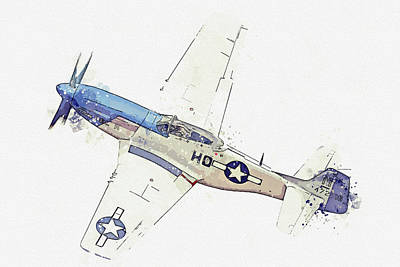 Vintage Movie Stars - North American P-D Mustang FG USAAF Frenesi Vintage Aircraft - Classic War Birds - Planes watercolor by Celestial Images
