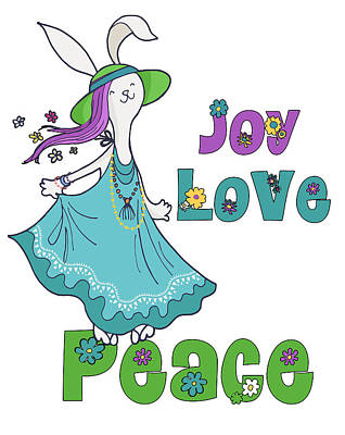 Popstar And Musician Paintings Royalty Free Images - Retro Hippie Joy Love and Peace Dancing Holiday Bunny Royalty-Free Image by Doreen Erhardt
