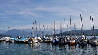 Typographic World - Sailing boats, Lake Lucerne, Lucerne,  Switzerland. by Joe Vella