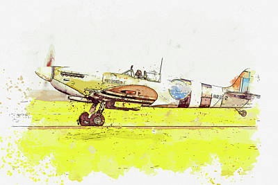 Rowing - Spitfire Typhoon in watercolor ca by Ahmet Asar  by Celestial Images
