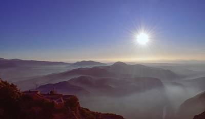 State Word Art - Sunrise over the mountains from Abbey of Montserrat by Christina McGoran