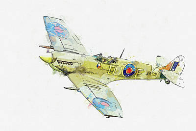 Rowing - Supermarine Spitfire Mk-V in watercolor ca by Ahmet Asar  by Celestial Images