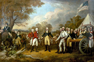 Best Sellers - Landmarks Painting Royalty Free Images - The Surrender of General Burgoyne Royalty-Free Image by War Is Hell Store