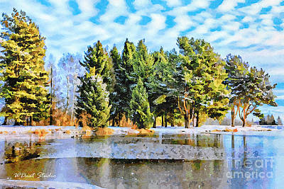 Modern Sophistication Beaches And Waves - Winter landscape with lake and reflection by Wdnet Studio