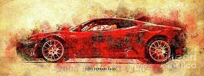 Drawings Royalty Free Images - 2005 Ferrari F430 Classic Car Royalty-Free Image by Drawspots Illustrations