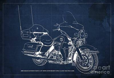 Albert Bierstadt - 2008 Harley-Davidson FLHTCU ANV 105th Anniversary Ultra Classic Electra Glide Blueprint, Blue Back by Drawspots Illustrations