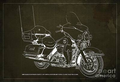 Albert Bierstadt - 2008 Harley-Davidson FLHTCU ANV 105th Anniversary Ultra Classic Electra Glide Blueprint, Brown Back by Drawspots Illustrations