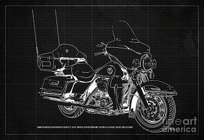 Albert Bierstadt - 2008 Harley-Davidson FLHTCU ANV 105th Anniversary Ultra Classic Electra Glide Blueprint, Dark Grey B by Drawspots Illustrations