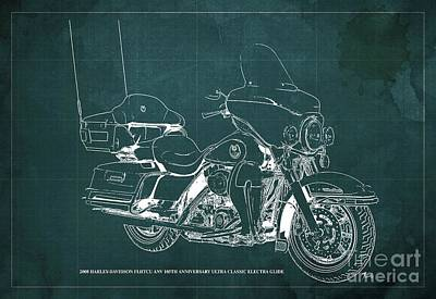Studio Grafika Typography - 2008 Harley-Davidson FLHTCU ANV 105th Anniversary Ultra Classic Electra Glide Blueprint, Green Back by Drawspots Illustrations