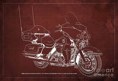 Studio Grafika Typography - 2008 Harley-Davidson FLHTCU ANV 105th Anniversary Ultra Classic Electra Glide Blueprint, Red Back by Drawspots Illustrations