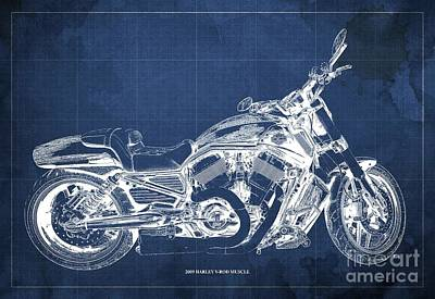 Farm Life Paintings Rob Moline Royalty Free Images - 2009 Harley V-Rod Muscle Blueprint. Blue Background Royalty-Free Image by Drawspots Illustrations