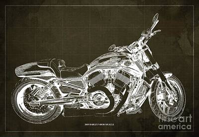 Farm Life Paintings Rob Moline Royalty Free Images - 2009 Harley V-Rod Muscle Blueprint. Brown Background Royalty-Free Image by Drawspots Illustrations