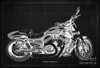 Farm Life Paintings Rob Moline Royalty Free Images - 2009 Harley V-Rod Muscle Blueprint. Dark Grey Background Royalty-Free Image by Drawspots Illustrations