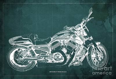 Farm Life Paintings Rob Moline Royalty Free Images - 2009 Harley V-Rod Muscle Blueprint. Green Background Royalty-Free Image by Drawspots Illustrations