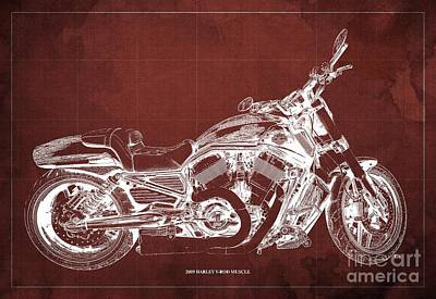 Farm Life Paintings Rob Moline Royalty Free Images - 2009 Harley V-Rod Muscle Blueprint. Red Background Royalty-Free Image by Drawspots Illustrations
