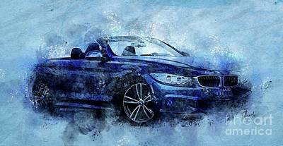 Drawings Royalty Free Images - 2016 BMW Cabriolet 435i, Original Artwork, Blue Background Royalty-Free Image by Drawspots Illustrations