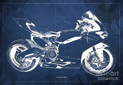 Farm Life Paintings Rob Moline Royalty Free Images - 2016 Ducati 959 Blueprint. Blue Background. Royalty-Free Image by Drawspots Illustrations