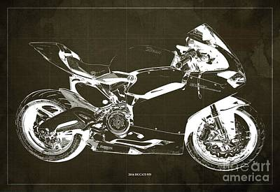 Farm Life Paintings Rob Moline Royalty Free Images - 2016 Ducati 959 Blueprint. Brown Background. Royalty-Free Image by Drawspots Illustrations