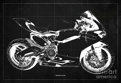Farm Life Paintings Rob Moline Royalty Free Images - 2016 Ducati 959 Blueprint. Dark Grey Background. Royalty-Free Image by Drawspots Illustrations