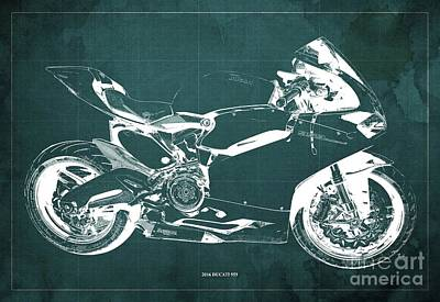 Farm Life Paintings Rob Moline Royalty Free Images - 2016 Ducati 959 Blueprint. Green Background. Royalty-Free Image by Drawspots Illustrations