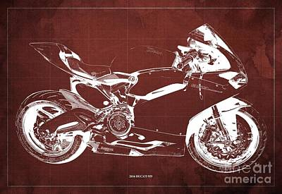 Farm Life Paintings Rob Moline Royalty Free Images - 2016 Ducati 959 Blueprint. Red Background. Royalty-Free Image by Drawspots Illustrations